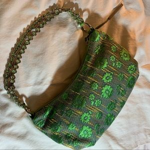 Elliot Lucca Green and Gold Brocade Beaded Purse